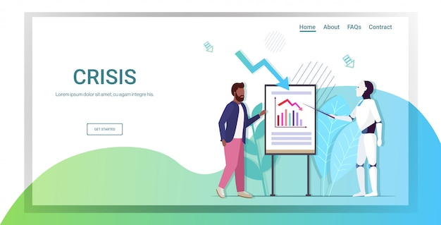 Robô apresentando gráfico descendente para empresário seta econômica caindo no flipchart crise financeira investimento à falência risco conceito inteligência artificial comprimento total cópia espaço horizontal