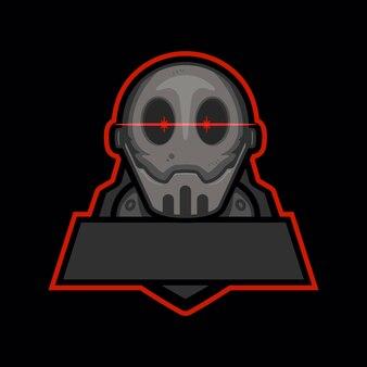 Robô assassino com reflexo anamórfico e olhos brilhantes