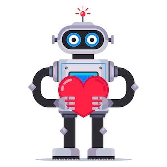 Robô bonitinho mantém um coração. mecanismo apaixonado. ilustração de personagem plana.