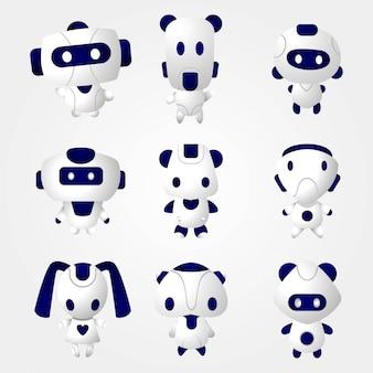 Robô bonito conjunto 3d