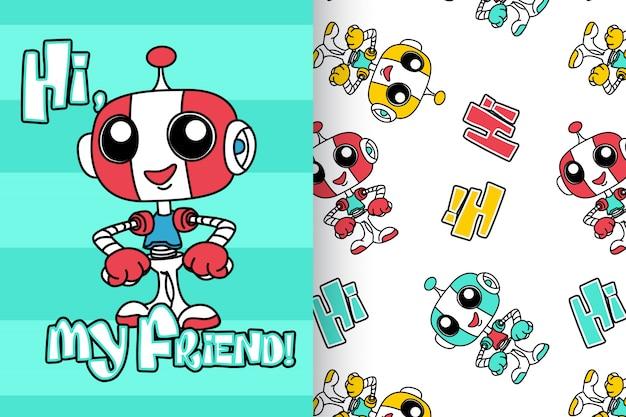 Robô bonito desenhado de mão com padrão vector set