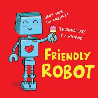 Robô bonito mão desenhada para camiseta