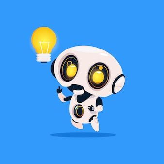 Robô bonito segurar lâmpada ícone isolado no fundo azul tecnologia moderna inteligência artificial