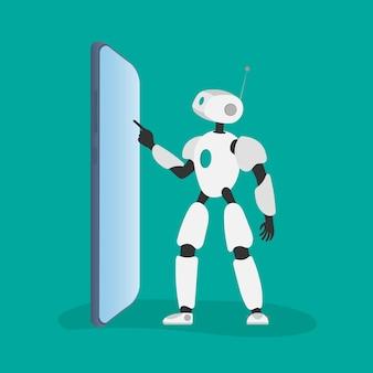 Robô branco clica no telefone. ilustração em vetor de um robô com um telefone.
