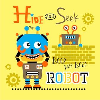 Robô brincando de esconde-esconde