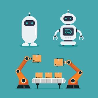 Robô, chatbot e máquina robótica de automação pesada Vetor Premium