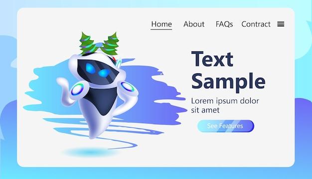 Robô ciborgue no abeto árvore festiva chapéu personagem robótico celebrando férias de inverno conceito de tecnologia de inteligência artificial cópia horizontal espaço ilustração vetorial