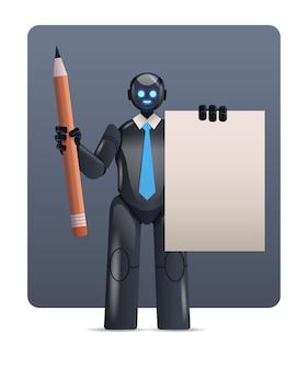Robô ciborgue preto segurando bloco de notas e lápis personagem robótico tecnologia de inteligência artificial