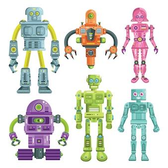 Robô colorido e coleção de personagens android
