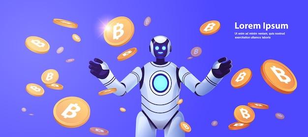 Robô com bitcoins crypto currency web money minerando receita passiva ganhos inteligência artificial