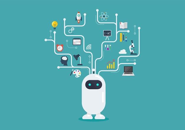 Robô com elementos infográfico Vetor Premium