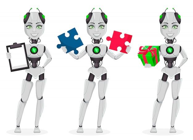 Robô com inteligência artificial, bot feminino