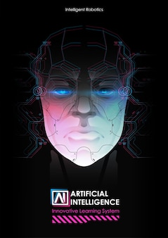 Robô com inteligência artificial trabalhando com interface virtual.