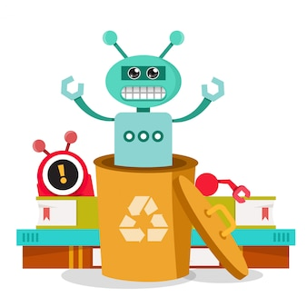 Robô com raiva no lixo