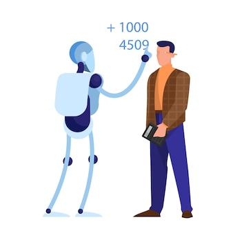 Robô como guarda-livros. ideia de inteligência artificial
