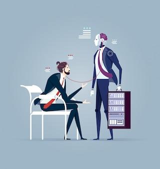 Robô, conectando, com, homem negócios