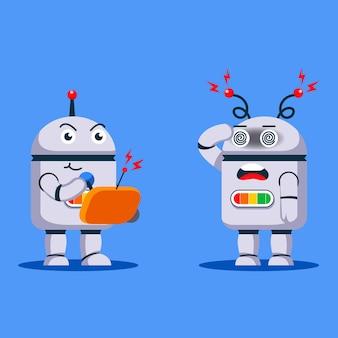 Robô controlando outro robô usando controle remoto