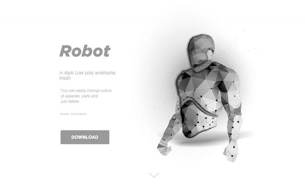 Robô corpo baixa poli arte ilustração. conceito de bot de bate-papo, segurança ciborgue ou big data. oncept para cartaz. espaço poligonal baixo poli com pontos conectados e linhas poligonais.