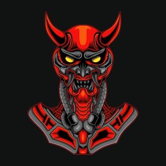 Robô crânio de demônio vermelho