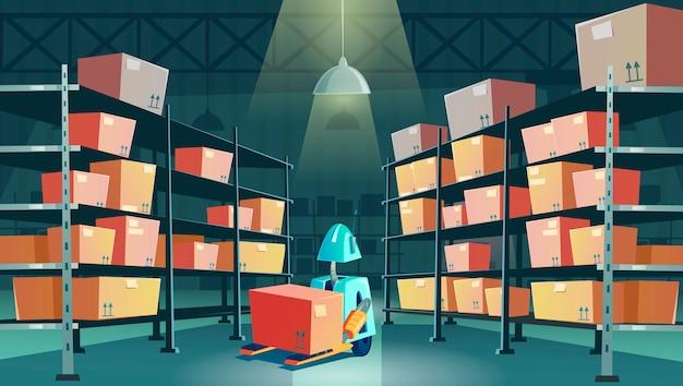 Robô de armazém com caixa de papelão