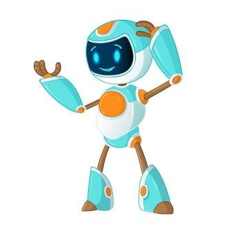 Robô de bate-papo bonito sorridente serviço de suporte ao cliente