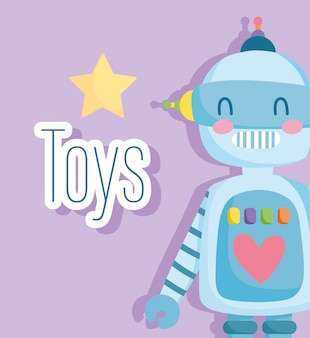 Robô de brinquedo com estrela e coração