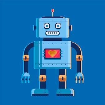 Robô de brinquedo se levanta e olha para nós. na tela do peito com um coração.