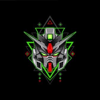 Robô de cabeça de geometria verde