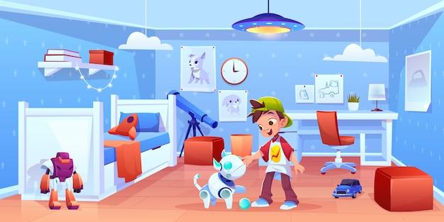 Robô de cachorro e menino brincando em casa