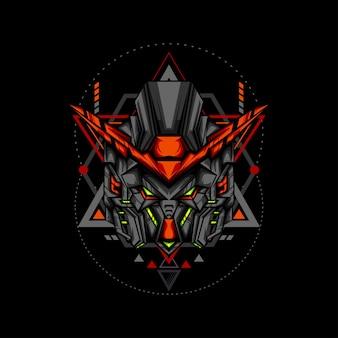 Robô de chifre vermelho com ornamentos geométricos