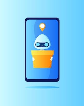 Robô de entrega com uma caixa na mão na tela do telefone