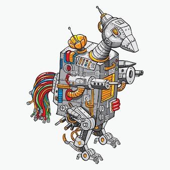 Robô de guerra de frango doodle ilustração