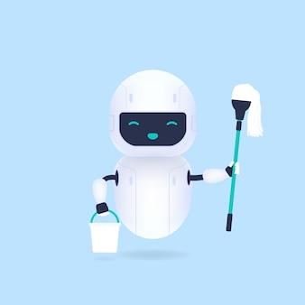 Robô de limpeza amigável branco segurando o esfregão e o balde.