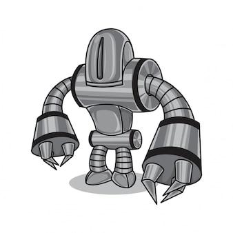 Robô de metal prateado