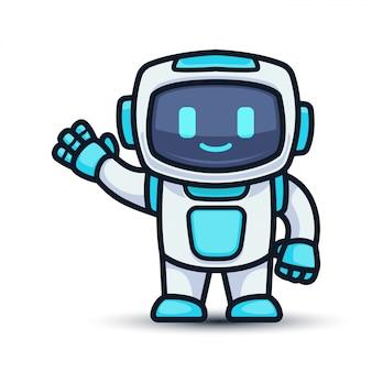 Robô de tecnologia futurista bonito mascote design ilustração