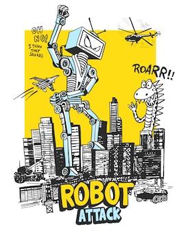 Robô desenhado à mão