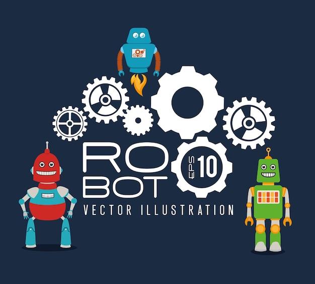 Robô design sobre ilustração vetorial de fundo azul