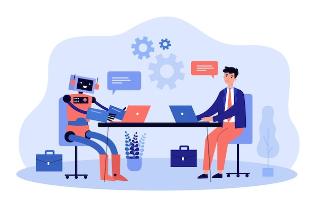 Robô e homem de negócios trabalhando juntos em computadores