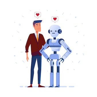 Robô e humano apaixonado.