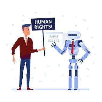 Robô e humanos lutando pelos direitos.