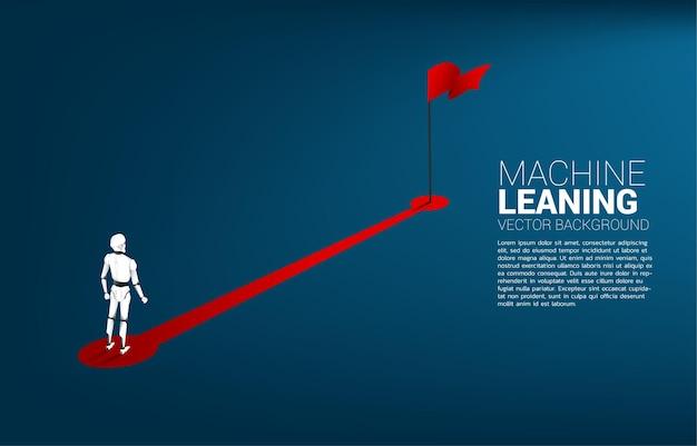 Robô em pé a caminho da bandeira vermelha. conceito de inteligência artificial e tecnologia de aprendizagem de máquina