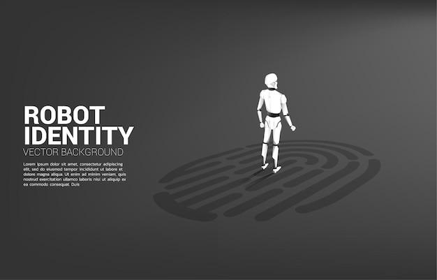 Robô em pé sobre o ícone de digitalização do dedo