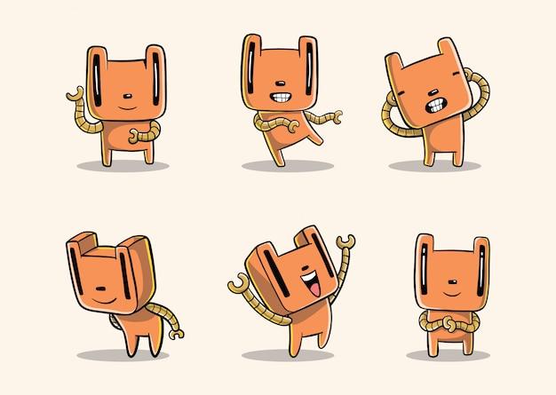 Robô engraçado dos desenhos animados desenhados à mão