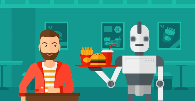 Robô fazendo café para um cliente na cafeteria.