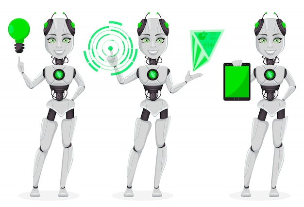 Robô feminino com inteligência artificial