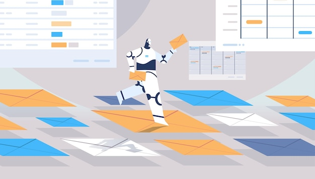 Robô fofo chatbot enviando e recebendo envelopes e-mail cartas comunicação on-line conceito de tecnologia de inteligência artificial ilustração vetorial horizontal de comprimento total