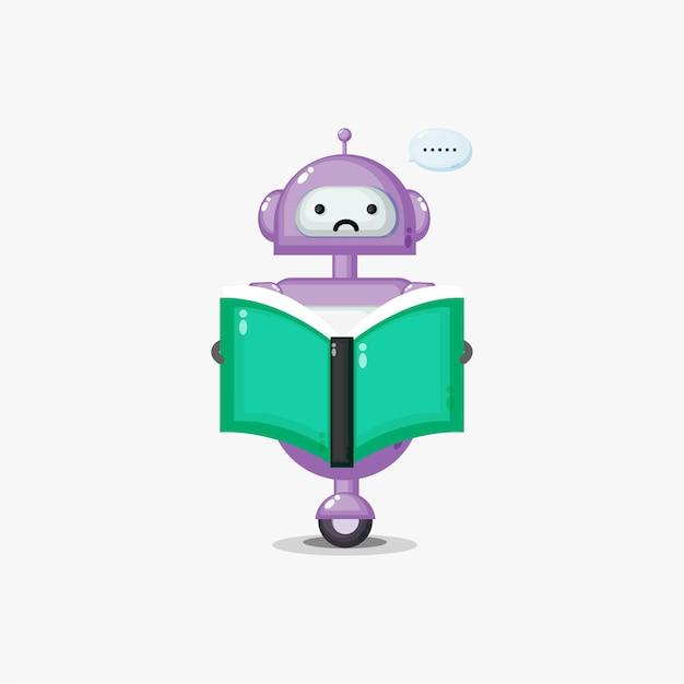 Robô fofo e confuso lendo um livro