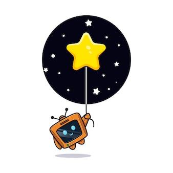 Robô fofo flutuando para a estrela, versão do personagem da televisão