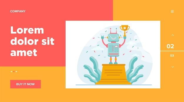 Robô ganhando a taça de ouro. prêmio, celebração, ciborgue. conceito de tecnologia e concurso para design de site ou página de destino