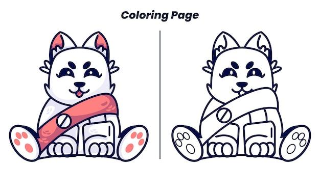 Robô gato fofo com página para colorir para crianças